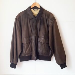 Vintage Members Only Voyager Leather Bomber Jacket